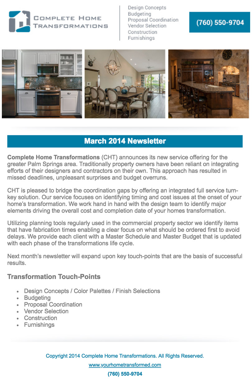 Sample Newsletter Complete Home Transformations